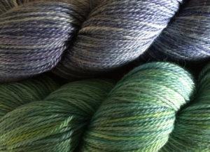 Ainsworth & Prin Alpaca and Silk 4ply: Ink top, Samarkand bottom