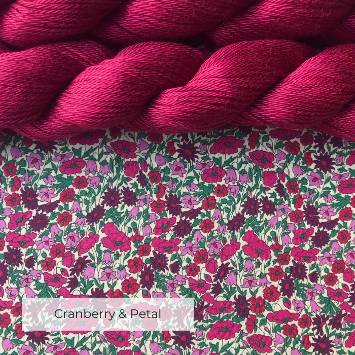 Two skeins of pink cotton yarn on a piece of fabric printed with pink, cerise and burgundy flowers