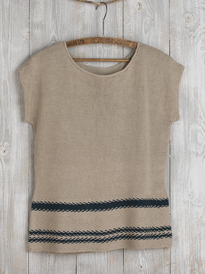 A short sleeved knitted linen top with hem detail