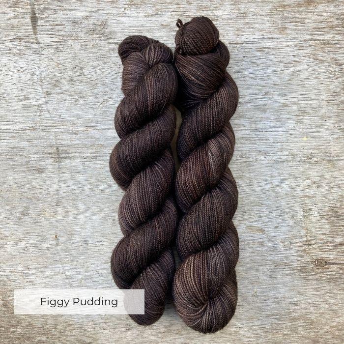 Dark brown skeins of yarn