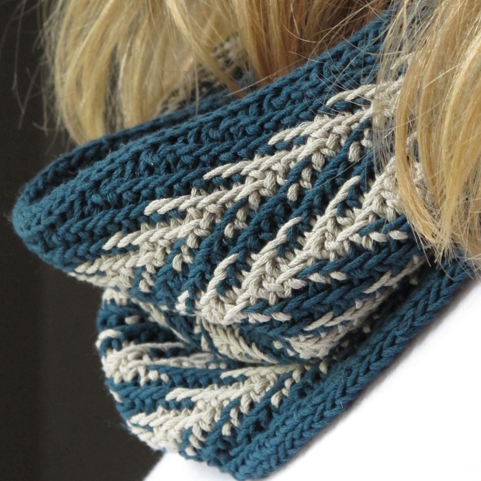 A close up of a woman neck wearing a herringbone knitted cowl in grey and teal