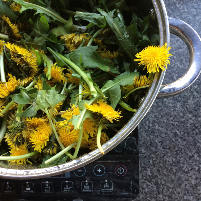 A pan full of dandelion flowers on a hob