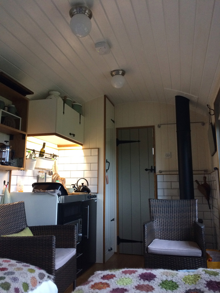 the interior of a shepherd's hut