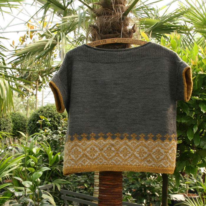 A short sleeved knitted. dark grey jumper with a band of yellow and grey colour work. Hanging from a palm tree