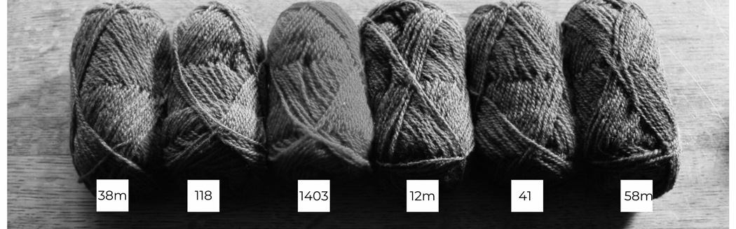 Six balls of Shetland wool lined up in a row from light to dark in black and white