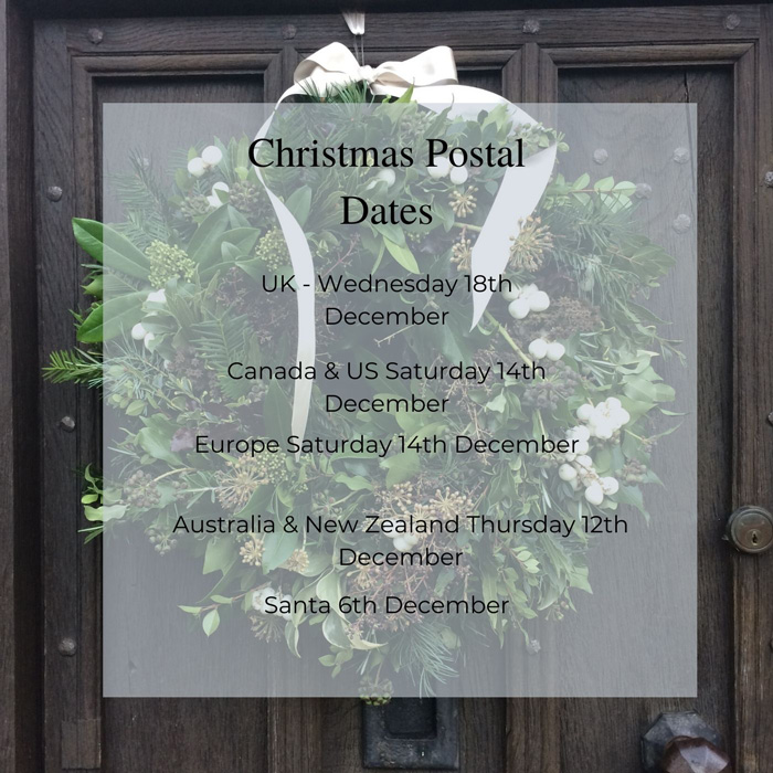 Image: An old oak door with a black iron letterbox and a lush evergreen wreath. Superimposed on the picture is a white square with the postal dates for Christmas