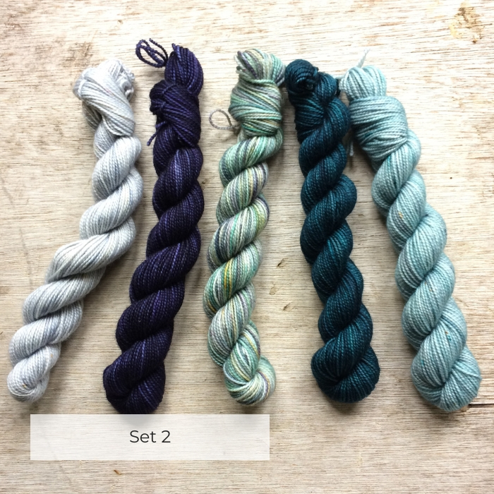 Five mini skeins in shades of blue and teal