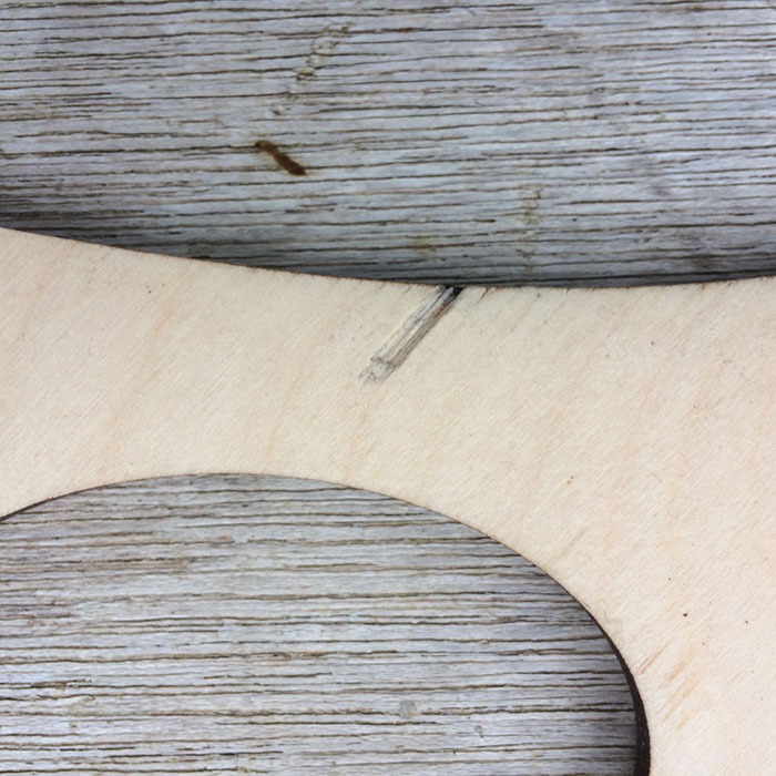 The back of a bunny blocker showing a snag on the side of the blocker that has been sanded smooth