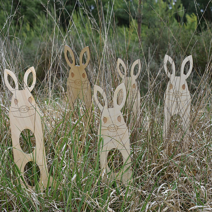 Five wooden bunny blockers hiding in the long grass