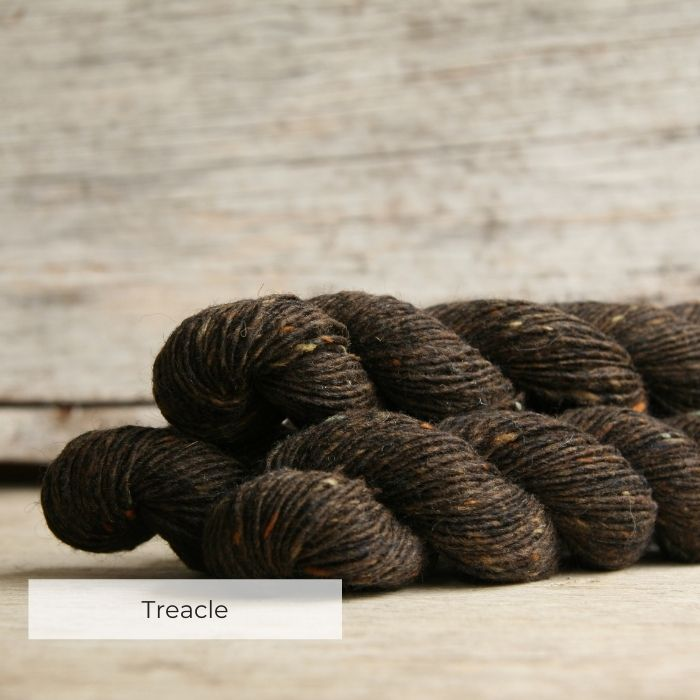 Three skeins of deep chocolate brown tweedy yarn with orang, green and cream neps