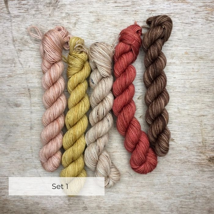 Five mini skeins in neutrals and corals