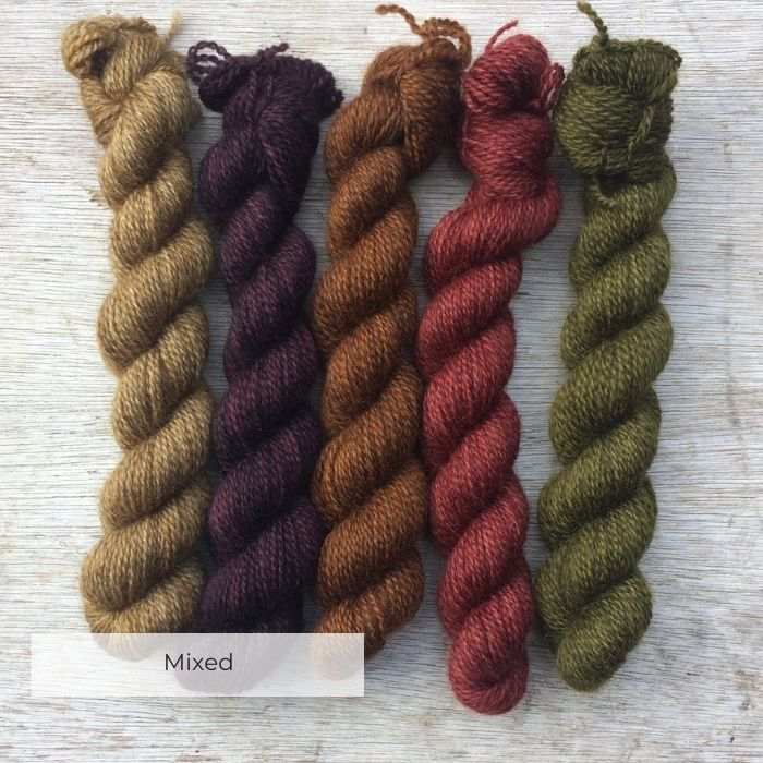 Five little mini skeins in old gold, purple, chestnut, red and moss