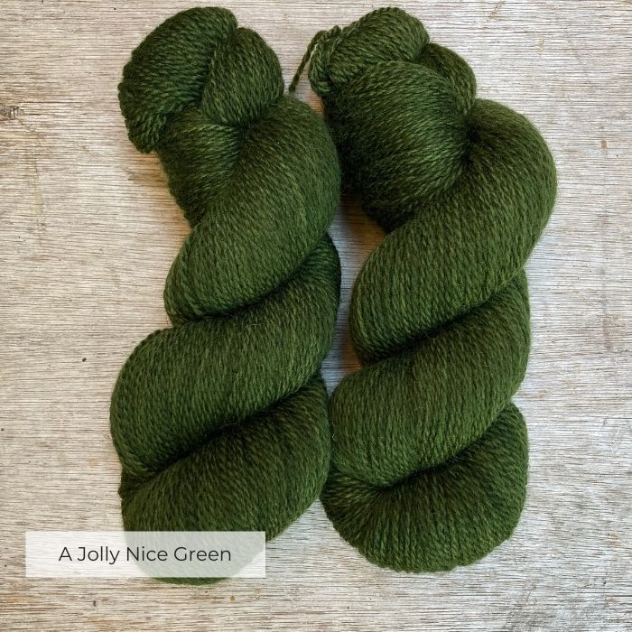 Two skeins of a jolly nice green wool