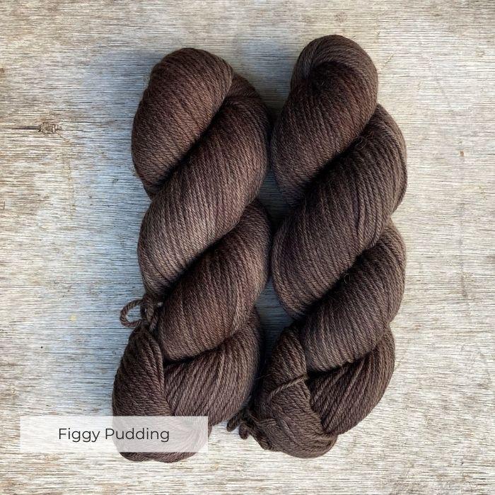 Two plump skeins of dark chocolate brown yarn